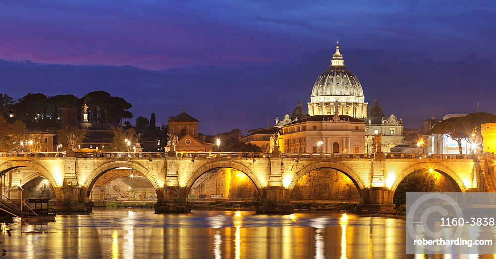 View over Tiber River to Ponte Vittorio Emanuele II Bridge and St. Peter's Basilica, Rome, Lazio, Italy, Europe