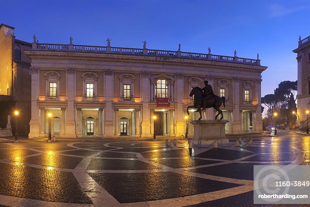 Piazza del Campidoglio Square, Capitoline Museums, Palazzo Nuovo, Equestrian statue of Marc Aurel , Rome, Lazio, Italy