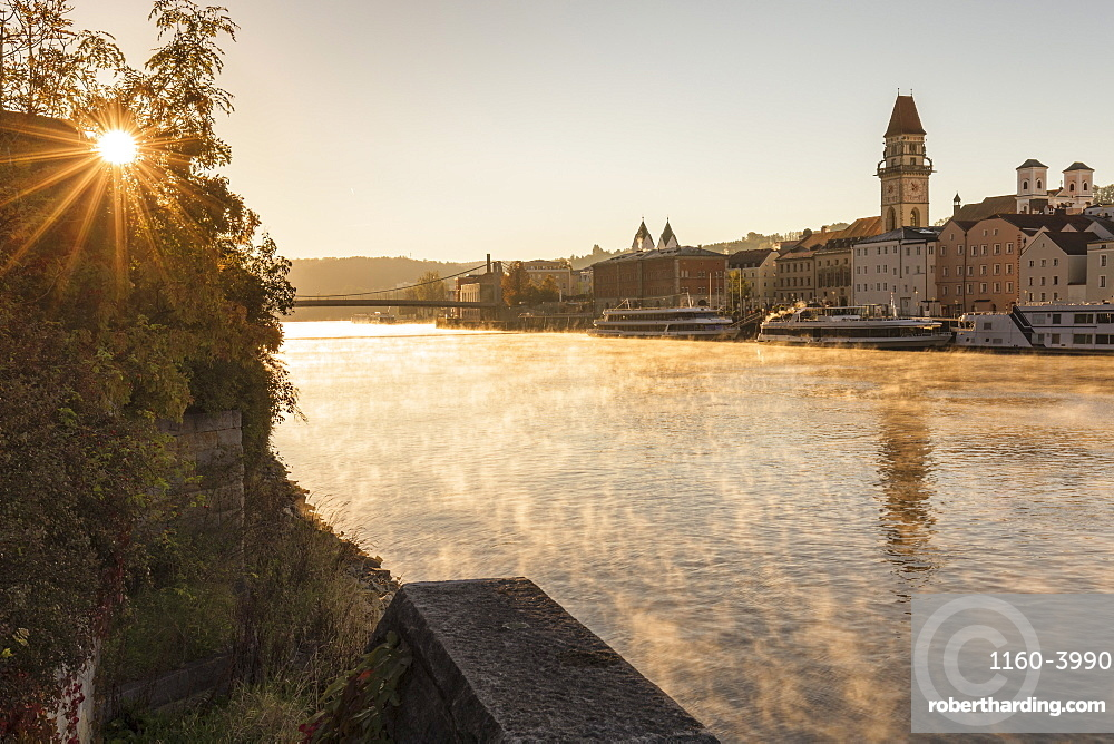 Fog on Danube River, old town with town hall, Passau, Lower Bavaria, Germany