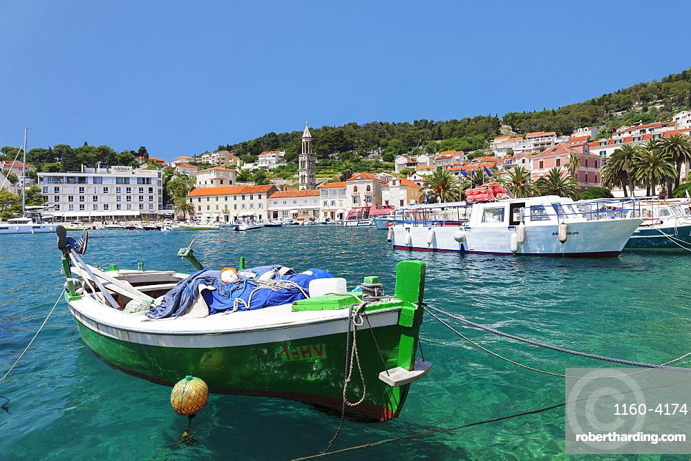 Fishing boats at the port, Hvar, Hvar Island, Dalmatia, Croatia, Europe