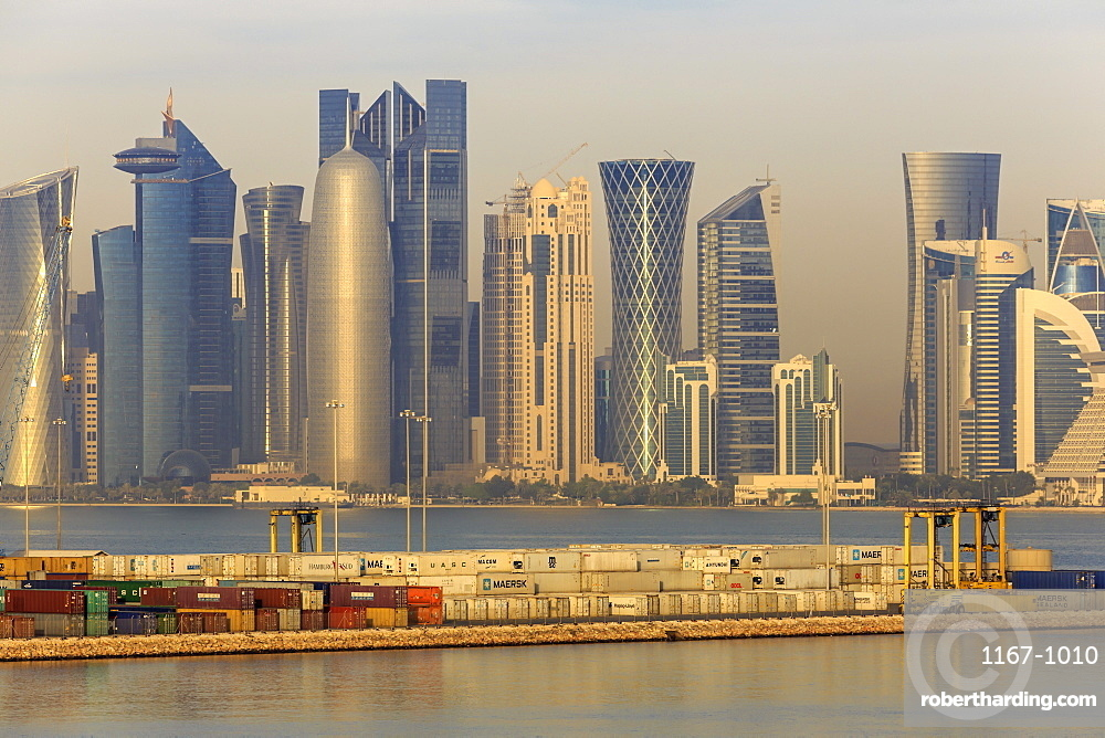 Futuristic Doha city skyline and container port, Doha, Qatar, Middle East