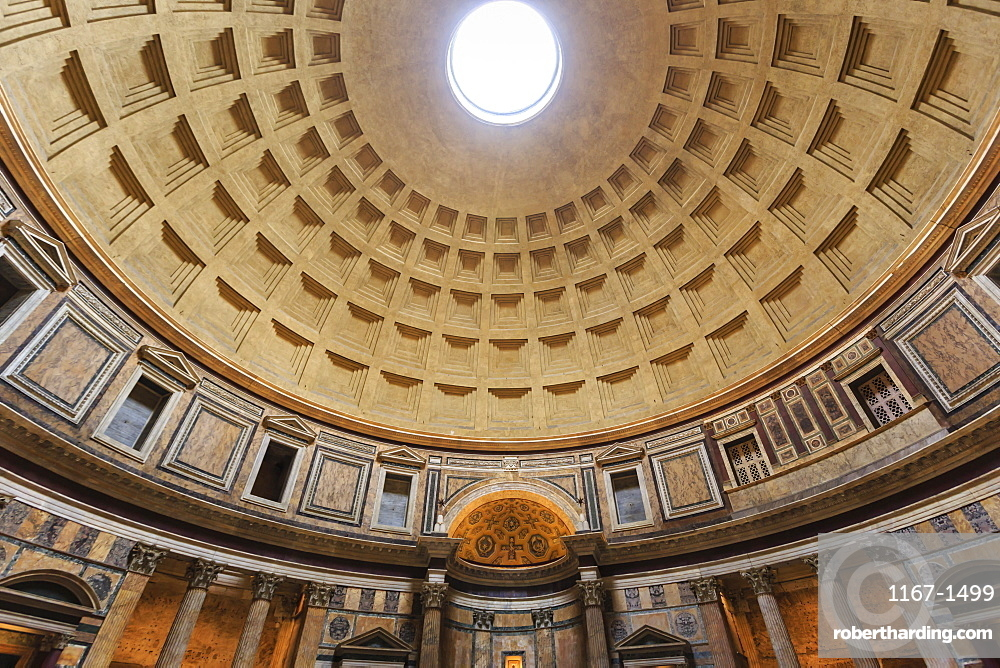 Pantheon interior concrete dome, Roman Temple, now church, Historic Centre, Rome, UNESCO World Heritage Site, Lazio, Italy, Europe