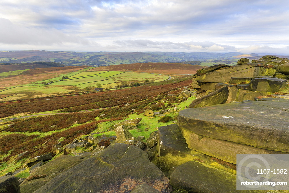 Stanage Edge and millstones in autumn, Hathersage, Peak District National Park, Derbyshire, England, United Kingdom, Europe