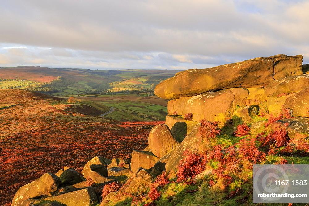 Higger Tor and Hathersage Moor, autumn sunrise, Peak District National Park, Derbyshire, England, United Kingdom, Europe