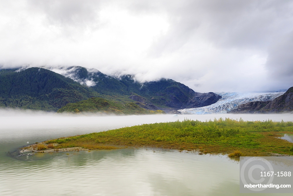Mist, Mendenhall Glacier and Lake, bright blue ice, Tongass National Forest, Juneau, Alaska, USA