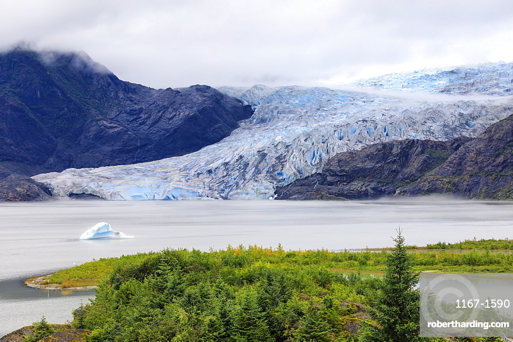 Blue iceberg, blue ice face of Mendenhall Glacier, elevated view, Visitor Centre, Tongass National Forest, Juneau, Alaska, United States of America, North America