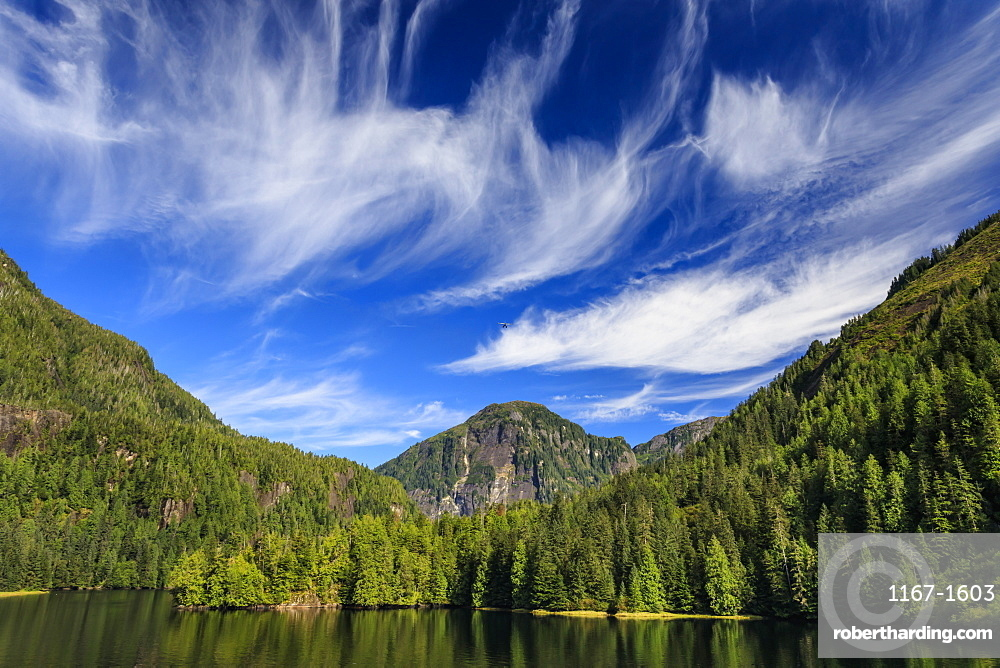 Rudyerd Bay, float plane and spectacular clouds, beautiful day, Misty Fjords National Monument, Summer, Ketchikan, Alaska, United States of America, North America