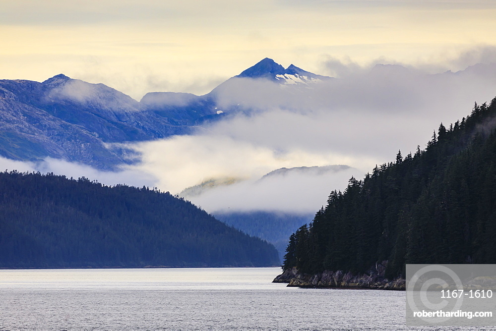 Mist over the Fairweather Range, Icy Strait, between Chichagof Island and Glacier Bay National Park, UNESCO World Heritage Site, Inside Passage, Alaska, United States of America, North America