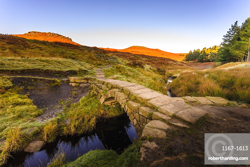 Carl Wark and Higger Tor, sunrise, from Burbage Brook, Hathersage Moor, Peak District National Park, Autumn, Derbyshire, England
