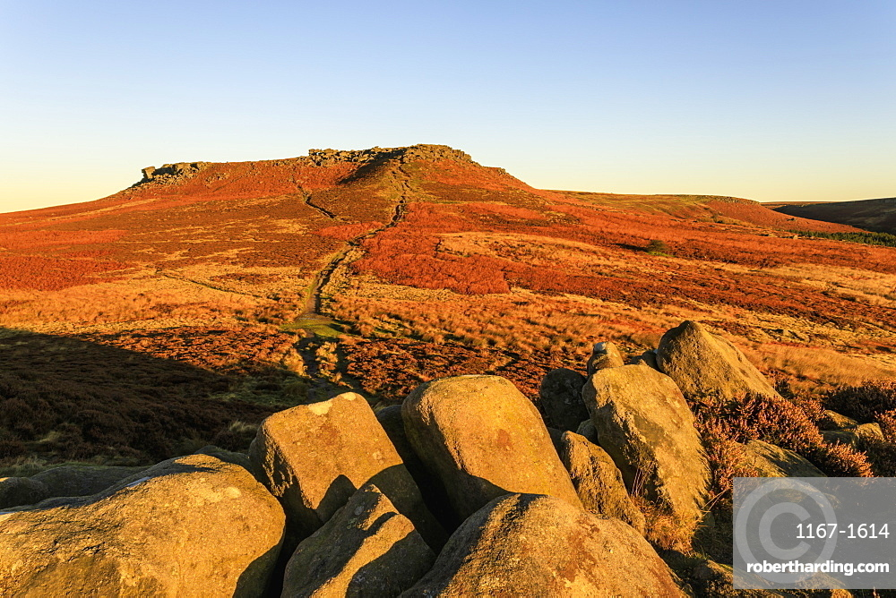 Higger Tor, autumn sunrise, Hathersage Moor, from Carl Wark Hill Fort, Peak District National Park, Derbyshire, England, United Kingdom, Europe