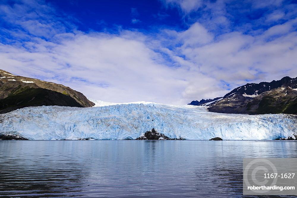 Aialik Glacier and mountains, perfect summer day, Harding Icefield, Kenai Fjords National Park, near Seward, Alaska, United States of America, North America