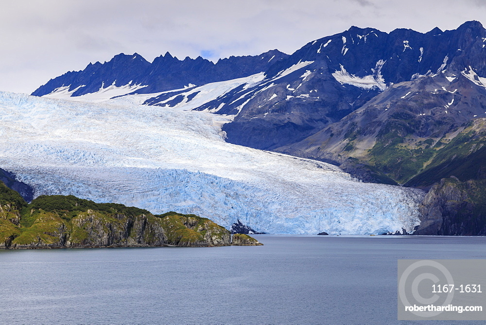 Aialik Glacier, mountains, island and blue ice, Harding Icefield, Kenai Fjords National Park, near Seward, Alaska, United States of America, North America