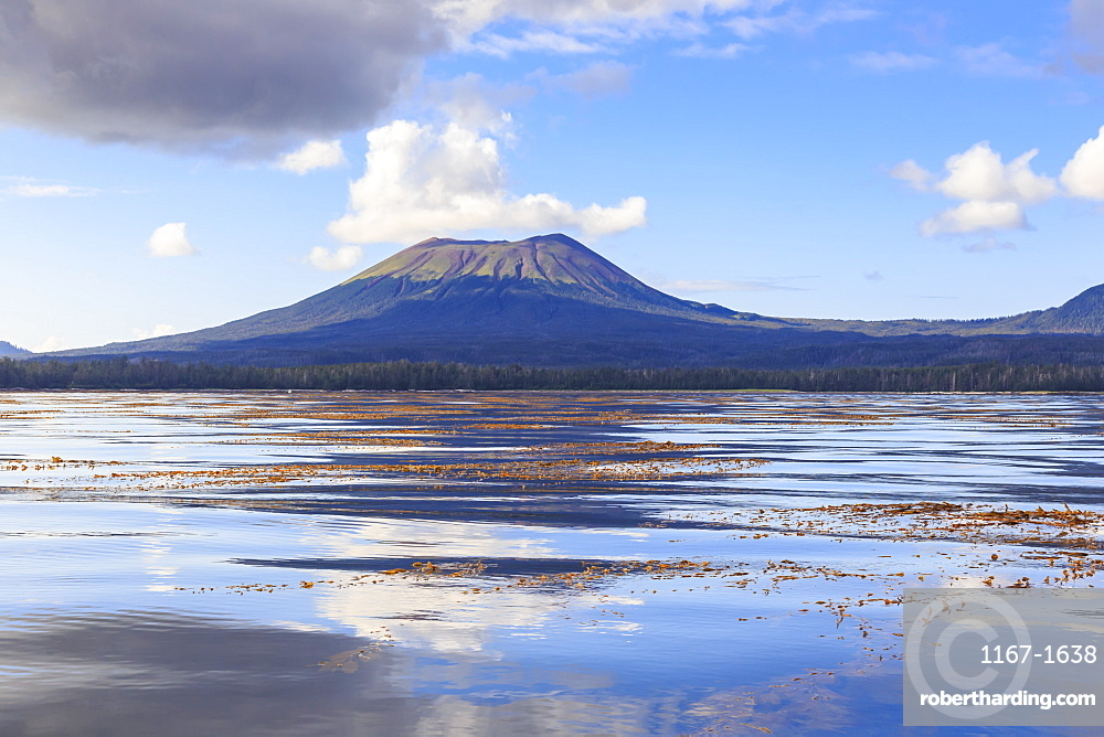 Mount Edgecumbe reflections, extinct volcano, Kruzof island, from Sitka Sound, Sitka, Northern Panhandle, Southeast Alaska, United States of America, North America
