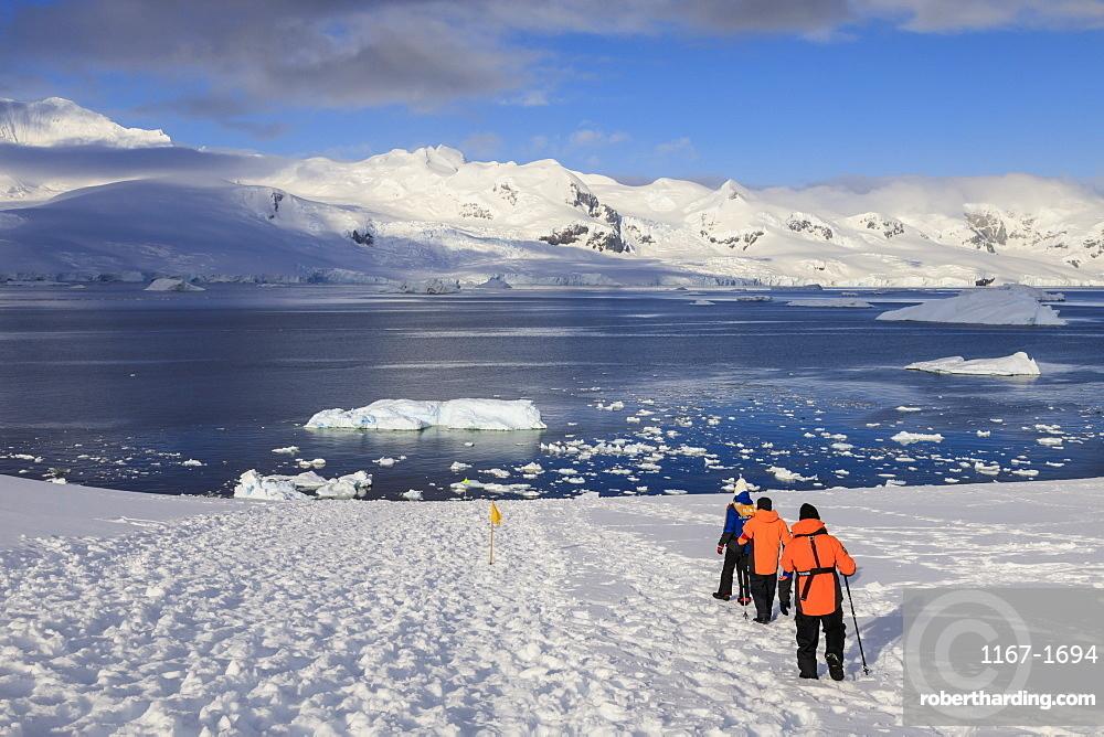 Expedition ship passengers trek above the sea, early morning, sunny day, Neko Harbour, Andvord Bay, Graham Land, Antarctica, Polar Regions