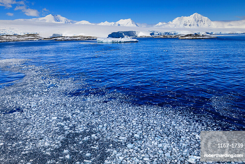 Brash ice, off Anvers Island, misty Mount William, glaciers and icebergs, blue sky, Antarctic Peninsula, Antarctica, Polar Regions