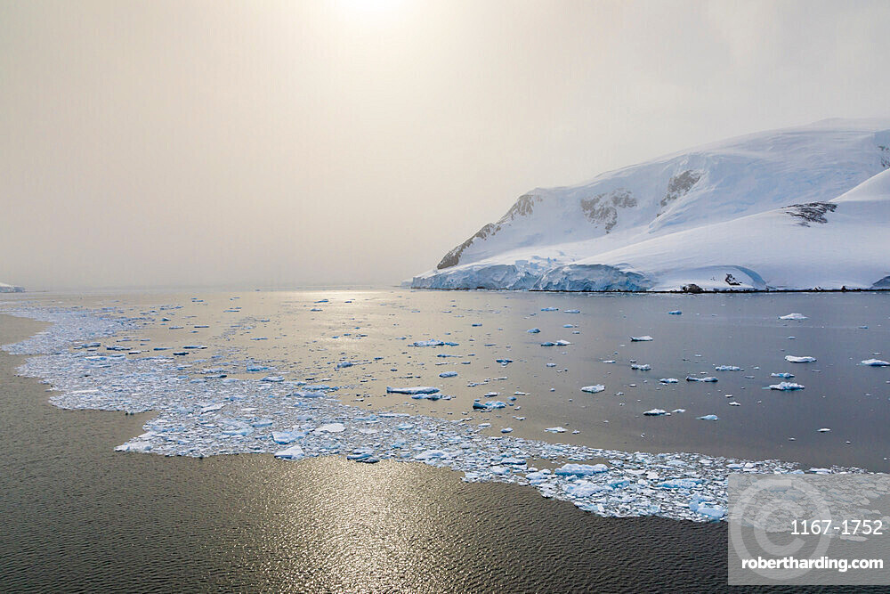 Sun shines through the mist, icy Neumayer Channel between Anvers Island and Wiencke Island, Antarctic Peninsula, Antarctica, Polar Regions