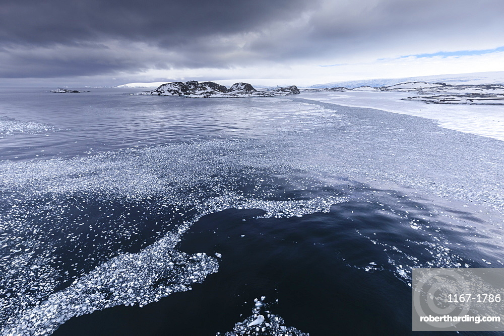 Brash ice and grease ice, Torgersen Island and glaciers of Anvers Island, Antarctic Peninsula, Antarctica