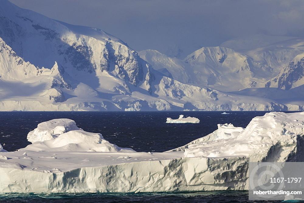 Iceberg, Gerlache Strait, mountains and glaciers, late evening before sunset, Antarctic Peninsula, Antarctica, Polar Regions