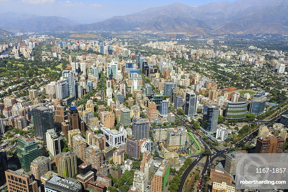 Sanhattan metropolis from Gran Torre Santiago, Costanera Center, South America's tallest, Las Condes, El Golf, Santiago, Chile, South America