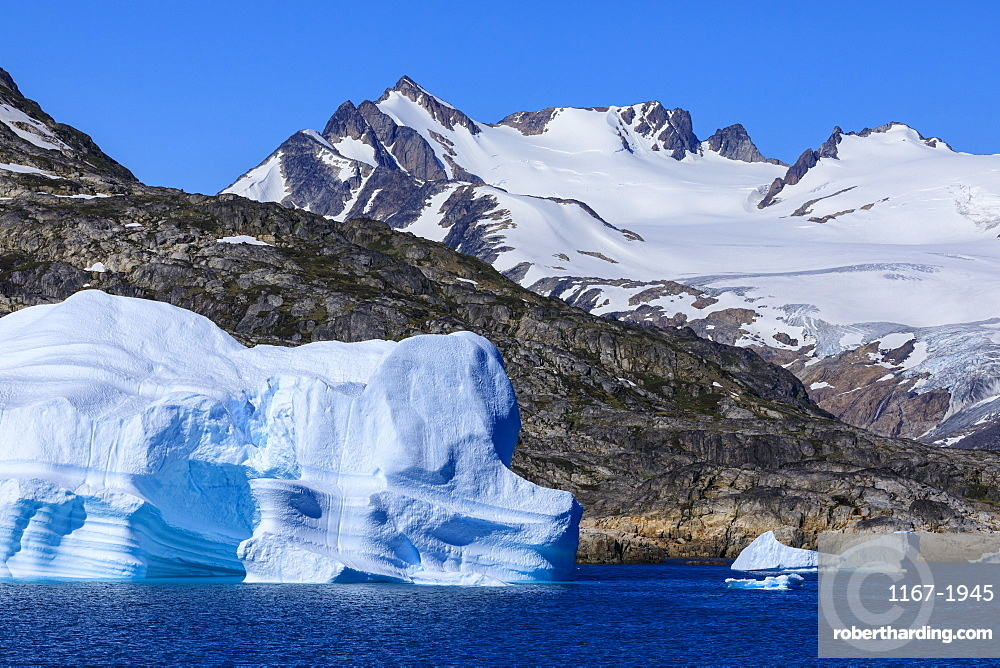 Icebergs, sculptured shapes, King Frederick VI coast at Skjoldungen Fjord, glorious weather, remote South East Greenland, Denmark, Polar Regions