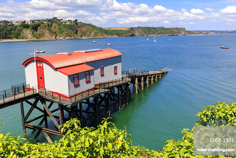 Former Lifeboat Station, distant cliffs and countryside, on a sunny day, Tenby, Pembrokeshire, Wales, United Kingdom, Europe