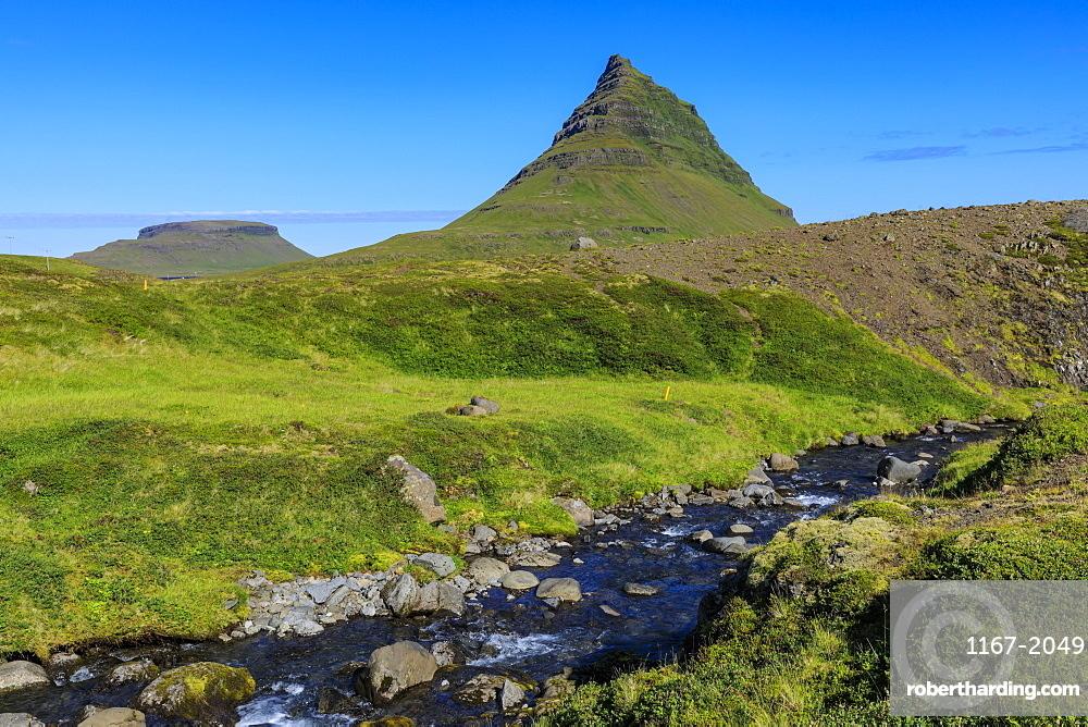 Kirkjufell Mountain, river, lush grass, Grundarfjordur, blue sky, good weather, Summer, Snaefellsnes Peninsula, Iceland