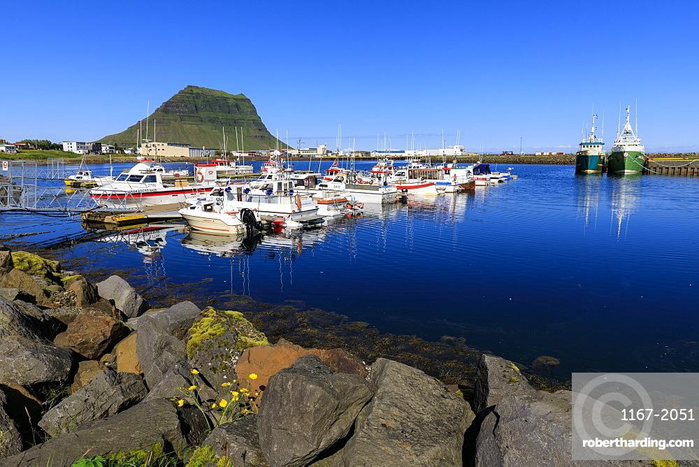 Fishing boats, harbour, Kirkjufell Mountain, Grundarfjordur town, Summer, blue sea and sky, Snaefellsnes Peninsula, Iceland