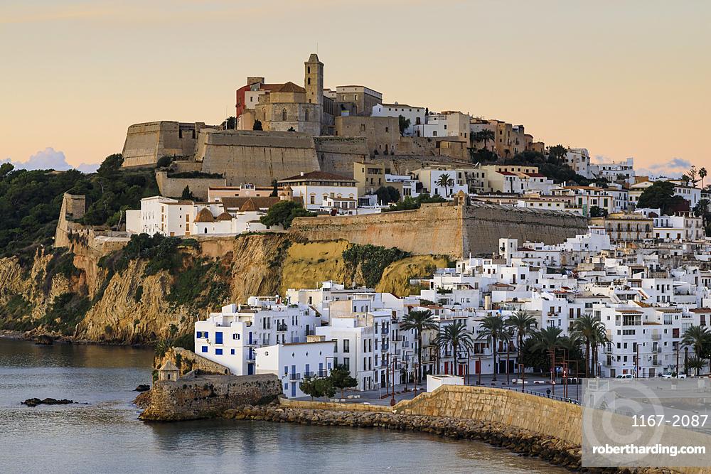 Ramparts, walls, cathedral, Dalt Vila, at sunrise, UNESCO World Heritage Site, Ibiza Town, Eivissa, Balearic Islands, Spain, Mediterranean, Europe