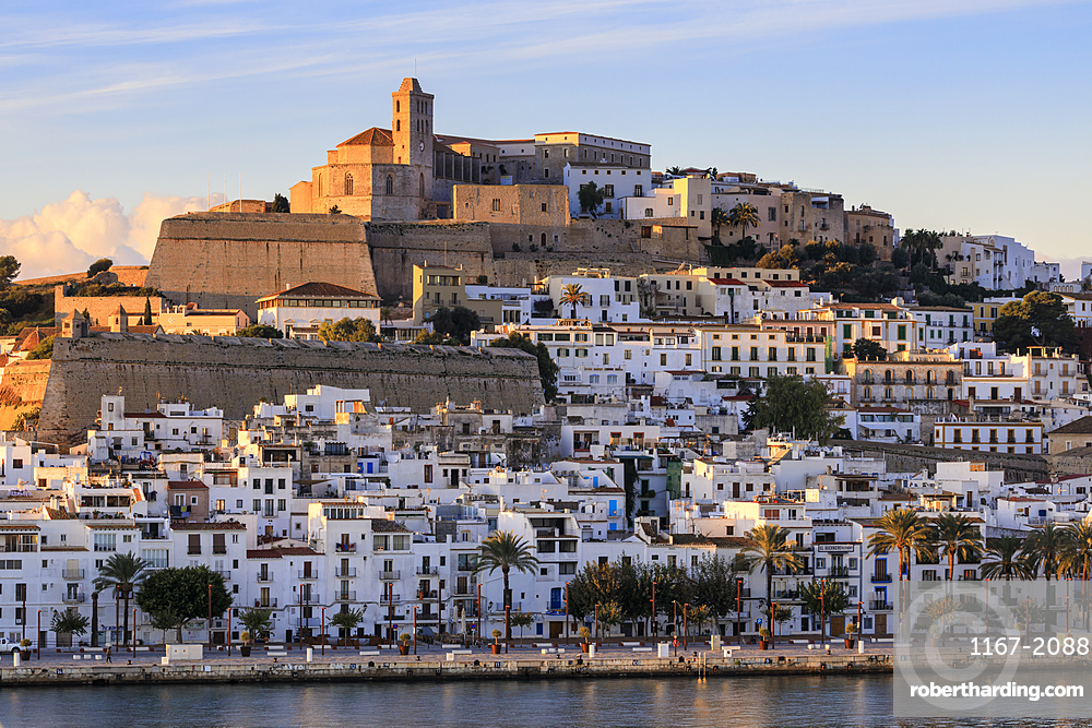 Waterfront and fortified historic old town, Dalt Vila, cathedral, at sunrise, Ibiza Town, Eivissa, Balearic Islands, Spain