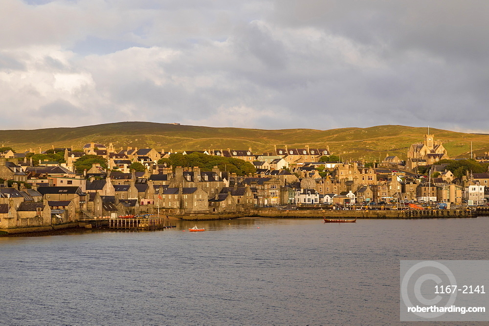 Lerwick, elevated view from the sea, morning light, Mainland, Shetland Isles, Scotland, United Kingdom, Europe