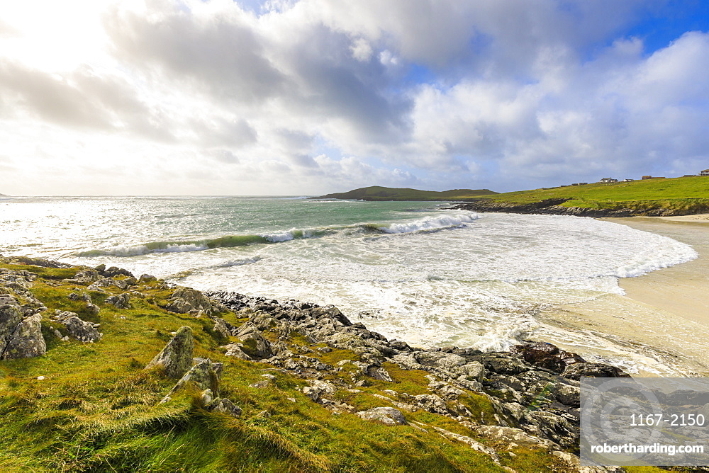Meal Beach, breaking waves and big seas, stormy weather, Hamnavoe, West Burra Island, near Scalloway, Shetland Isles, Scotland