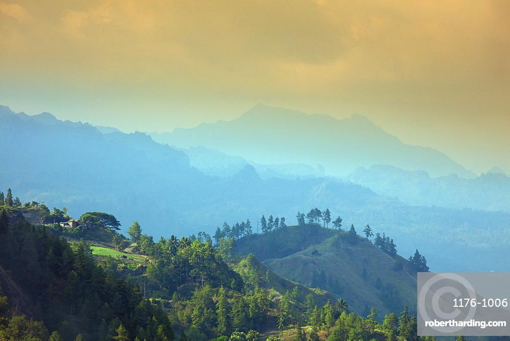 View over a Torajan highland landscape, Tana Toraja, Sulawesi, Indonesia, Southeast Asia, Asia