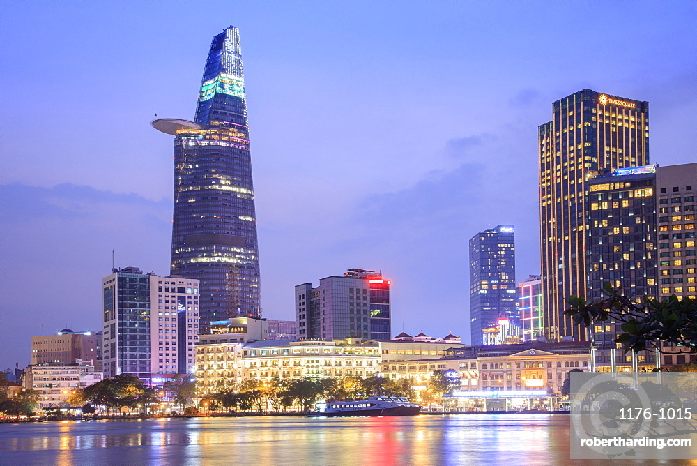 The skyline of the Central Business District of Ho Chi Minh City showing the Bitexco tower and the Saigon River, Ho Chi Minh City, Vietnam, Indochina, Southeast Asia, Asia