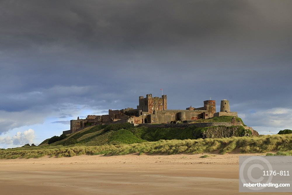Bamburgh Castle and beach near Lindisfarne, Northumberland, England, United Kingdom, Europe