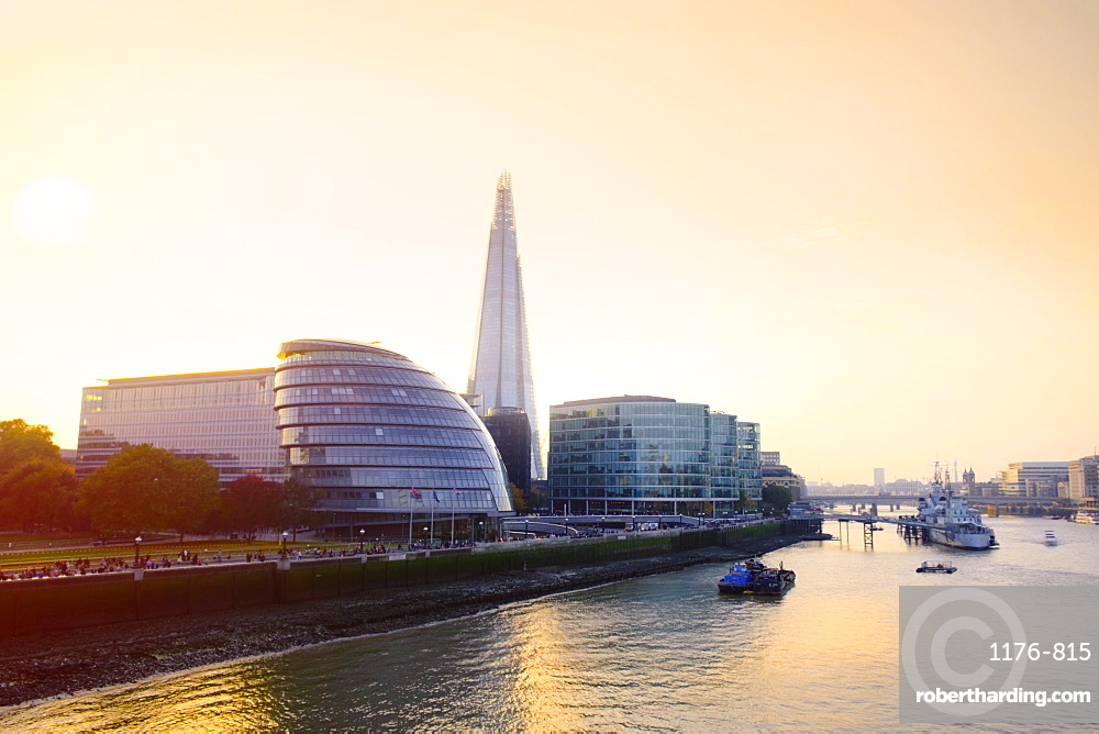 The Shard, City Hall and Thames Path at sunset, London, England, United Kingdom, Europe