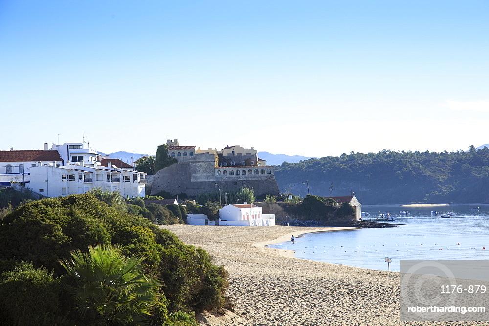 The town and town beach in Vila Nova de Milfontes on the Alentejo coast, Portugal, Europe