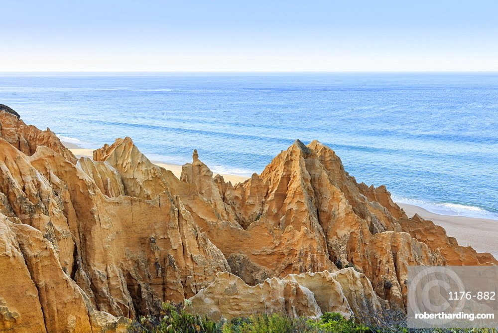 Sandstone cliffs in Carvalhal on the Alentejo coast