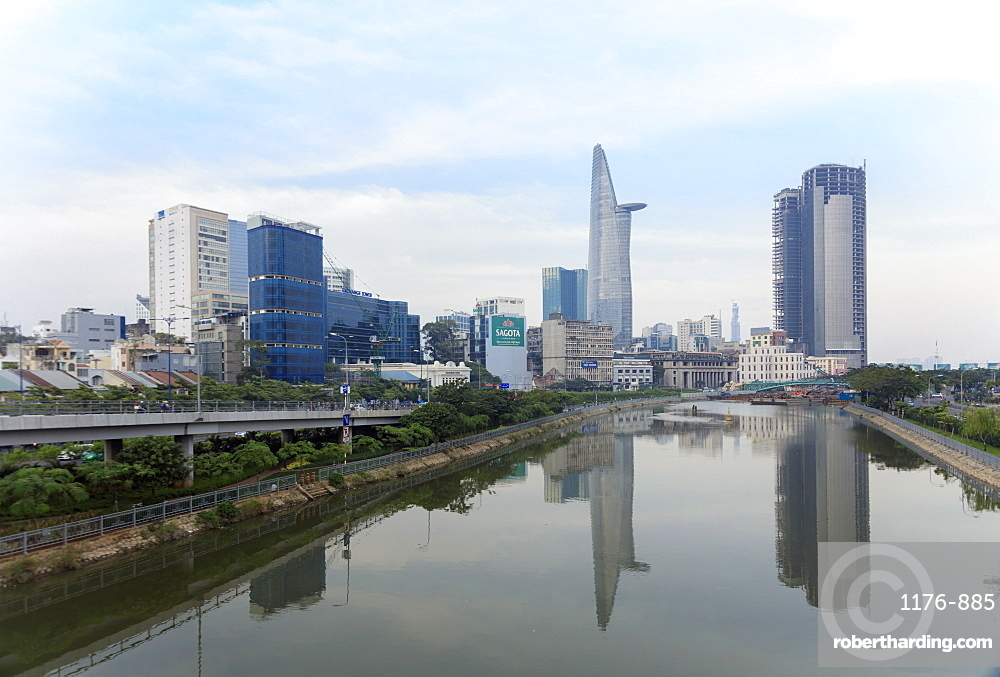 The view of the Bitexco Tower in Ho Chi Minh City (Saigon) centre and a canal off the Saigon River, Vietnam, Indochina, Southeast Asia, Asia