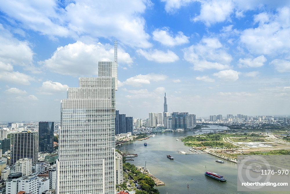 View of the city skyline and the Saigon River, Ho Chi Minh City, Vietnam, Indochina, Southeast Asia, Asia