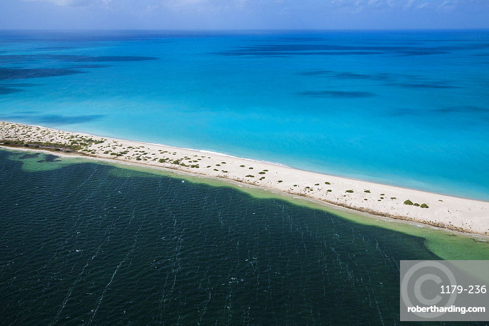 Aerial view of the color contrasts of Barbuda, tones change according to the current and the difference of seafloor, Barbuda, Antigua and Barbuda, Leeward Islands, West Indies, Caribbean, Central America