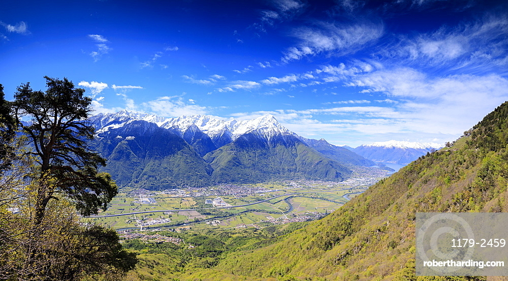 Panoramic of Rhaetian Alps in spring from Prati Nestrelli, Civo, province of Sondrio, Valtellina, Lombardy, Italy, Europe