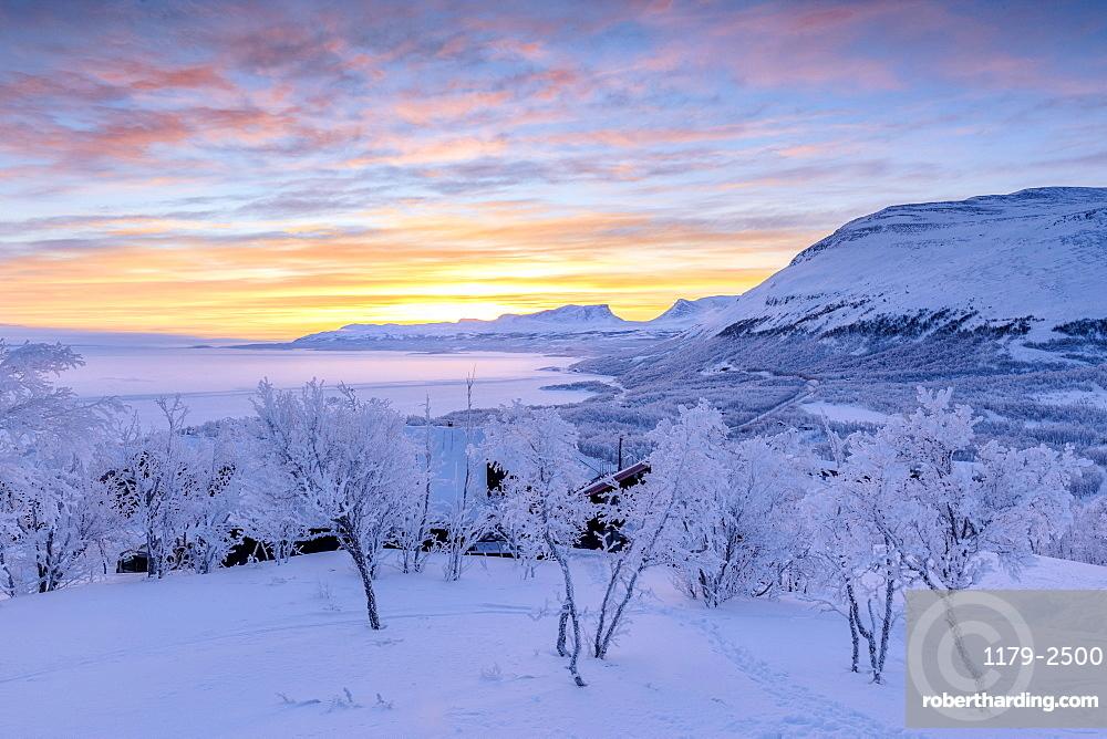 Colorful sky at sunrise, Bjorkliden, Abisko, Kiruna Municipality, Norrbotten County, Lapland, Sweden, Scandinavia, Europe
