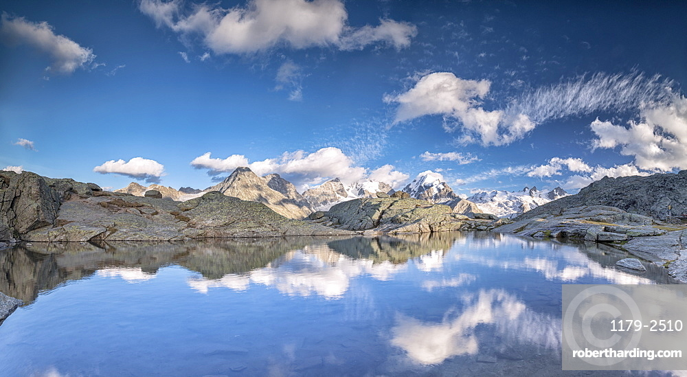 Panoramic of Piz Bernina at sunset, Fuorcla Surlej, Corvatsch, Engadine, Canton of Graubunden, Swiss Alps, Switzerland, Europe