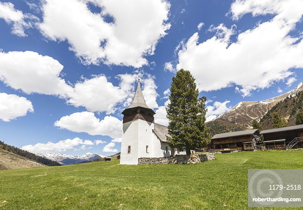 Ancient church of the alpine village of Davos, Sertig Valley, canton of Graubunden, Switzerland, Europe
