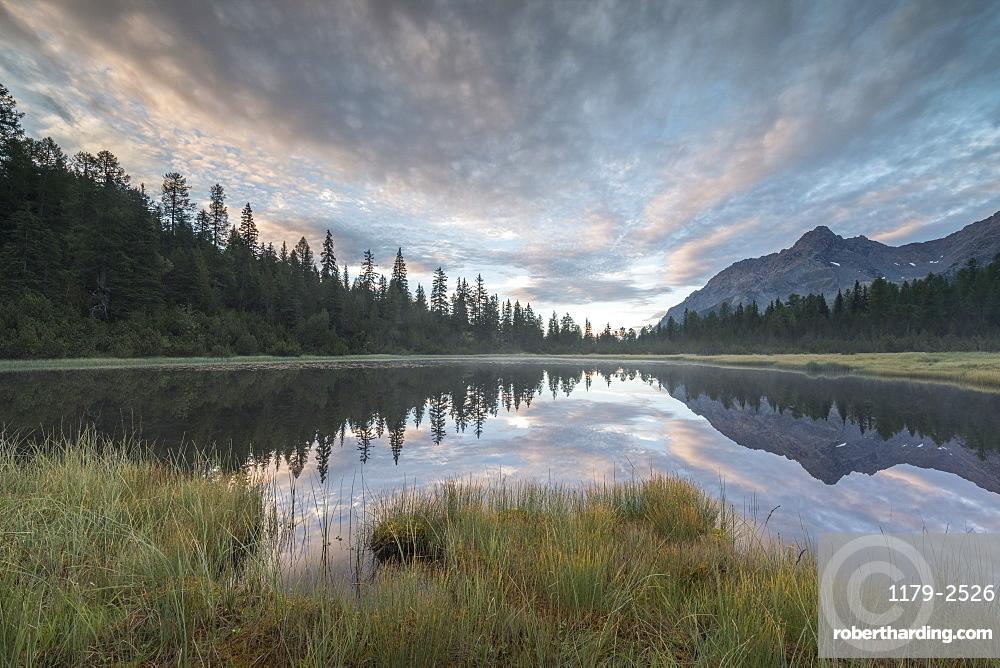 Clouds reflected in Lake Entova at dawn, Entova Alp, Malenco Valley, Sondrio province, Valtellina, Lombardy, Italy