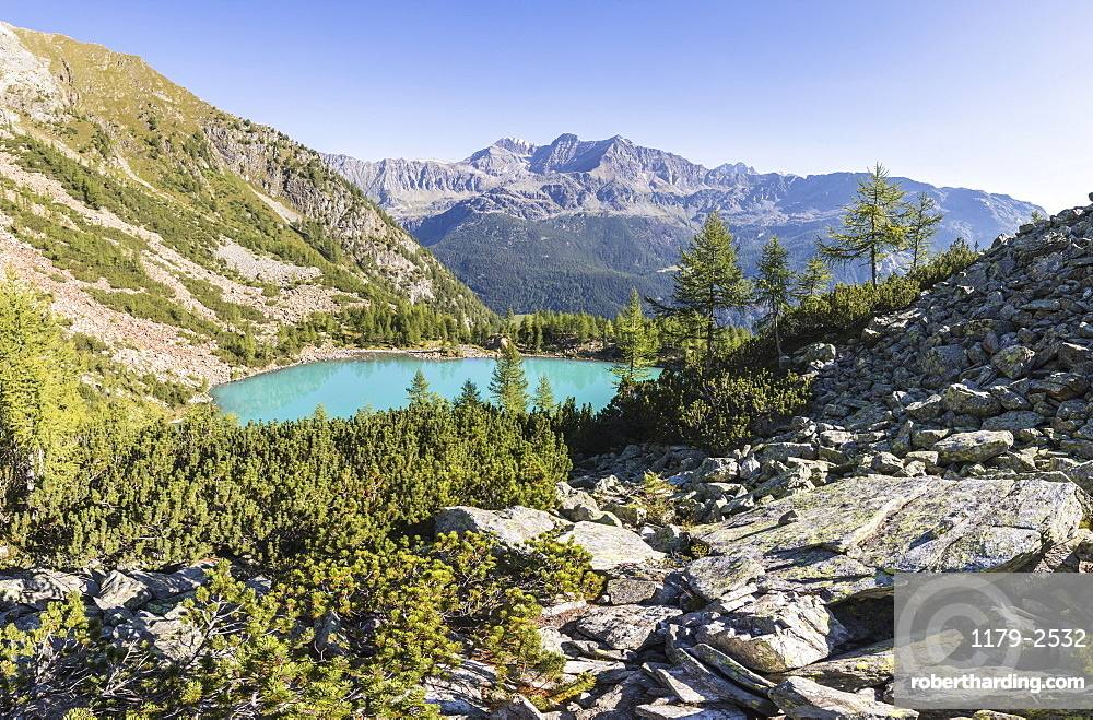 Panoramic of turquoise Lago Lagazzuolo, Chiesa In Valmalenco, Province of Sondrio, Valtellina, Lombardy, Italy, Europe