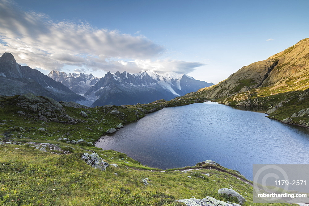 Sunrise on the snowy peaks of Mont Blanc massif seen from Lacs De Cheserys, Chamonix, Haute Savoie, French Alps, France, Europe