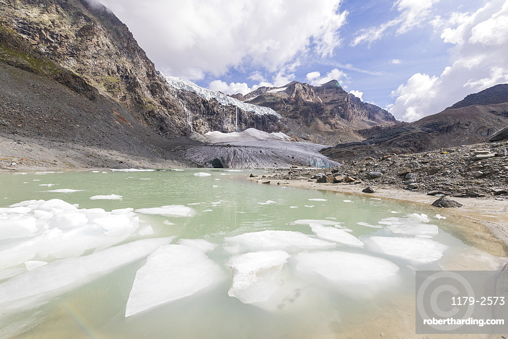 The glacial lake at the foot of Fellaria Glacier, Malenco Valley, Valtellina, Lombardy, Italy, Europe