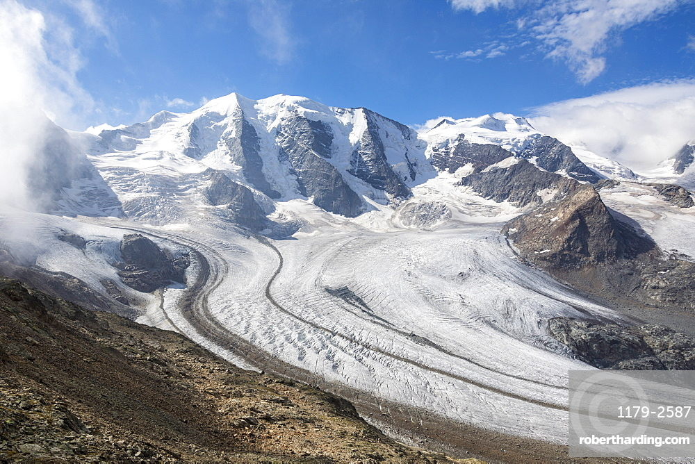 Overview of the Diavolezza and Pers glaciers, St. Moritz, canton of Graubunden, Engadine, Switzerland, Europe