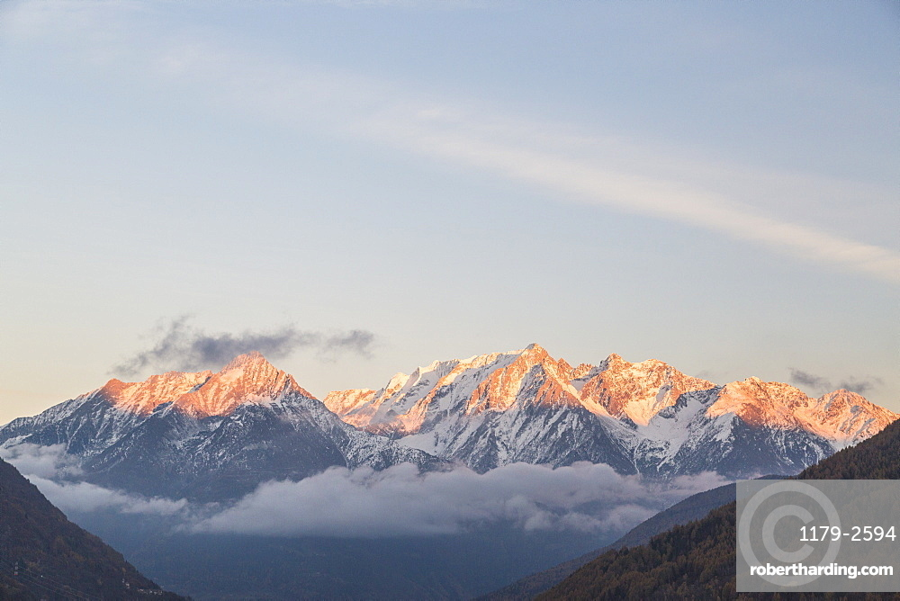 Snowy peaks at sunset, Ponte Di Legno, Brescia province, Valcamonica, Lombardy, Italy, Europe